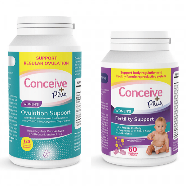 Conceive Plus Pack de Ovulação -Vitaminas Femininas para Fertilidade 60 + Suplemento para Ovulação 120 Cápsulas